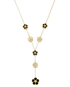 Roberto Coin - 18K Yellow Gold Mixed Daisy Mother-of-Pearl, Onyx & Diamond Flower Y Necklace - 100% Exclusive