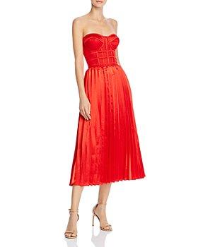 O.P.T - Donna Pleated Strapless Midi Dress