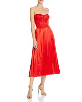 O.P.T - Donna Pleated Strapless Midi Dress