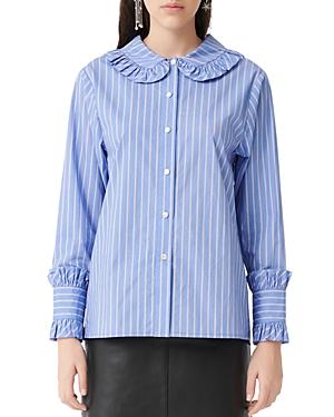 Maje Calia Ruffled Striped Button-Down Shirt