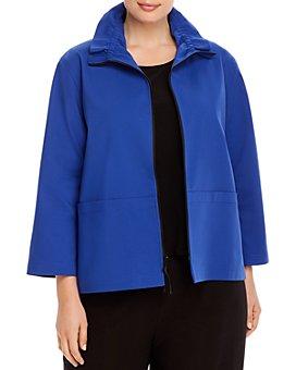 Caroline Rose Plus - Ruched Collar Zip-Front Jacket