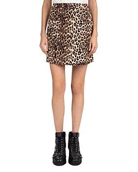 The Kooples - Leopard-Print Sateen Mini Skirt