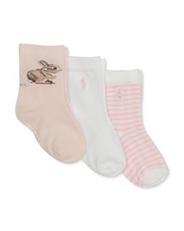 Ralph Lauren - Girls' Bunny Striped Socks, 3 Pack - Baby