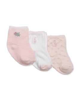Ralph Lauren - Girls' Floral Tonal-Dot Socks, 3 Pack - Baby