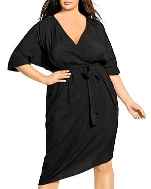 City Chic Plus Asymmetrical Faux-Wrap Dress