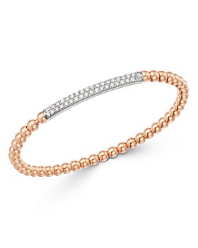 Bloomingdale's - Diamond Bar Beaded Stretch Bracelet in 14K Rose Gold & 14K White Gold, 0.50 ct. tw. - 100% Exclusive