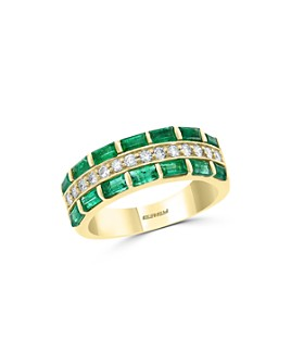 Bloomingdale's - Emerald & Diamond Halo Multi-Row Ring in 14K Yellow Gold - 100% Exclusive