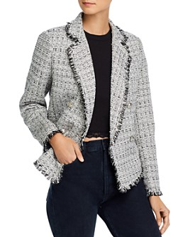 AQUA - Fringed Tweed Blazer