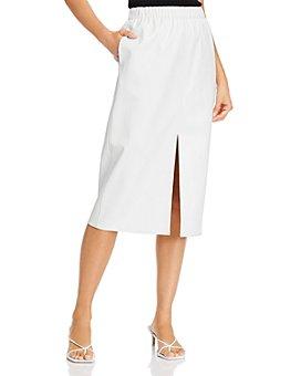 AQUA - Faux-Leather Slit Pencil Skirt