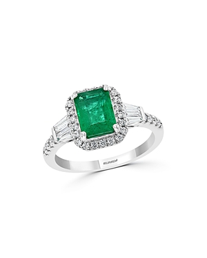 Bloomingdale's Emerald & Diamond Halo Ring in 14K White Gold - 100% Exclusive