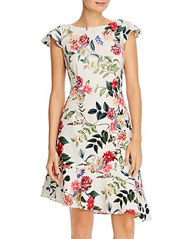 Adrianna Papell - Parisian Garden-Print Ruffled Dress