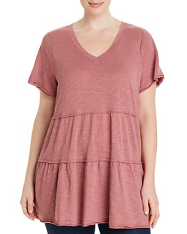 Cupio Plus - Tiered V-Neck T-Shirt