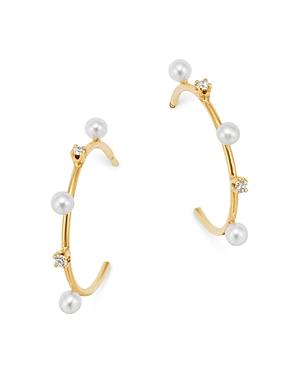 Zoe Chicco 14K Yellow Gold Cultured Freshwater Pearl & Diamond Hoop Earrings