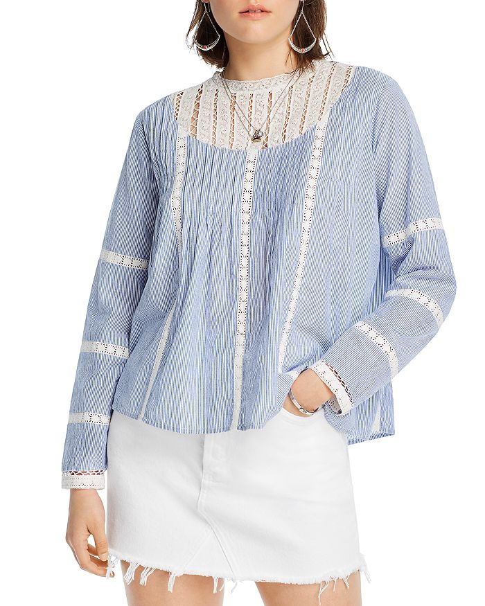 Lini Alice Lace-inset Top - 100% Exclusive In Blue/white