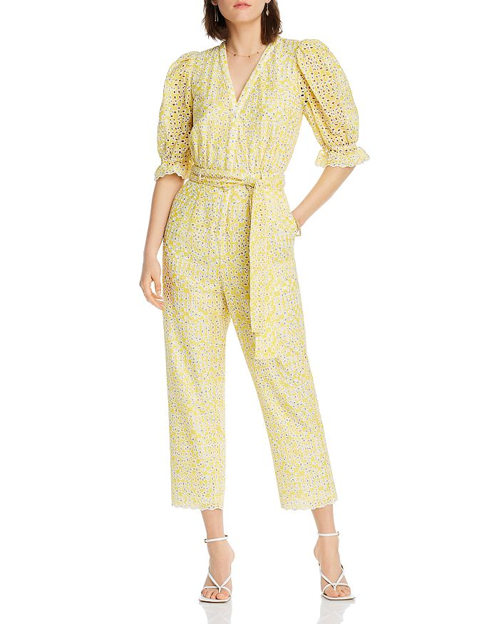 Lini Elizabeth Eyelet Embroidered Jumpsuit - 100% Exclusive In Yellow/blue