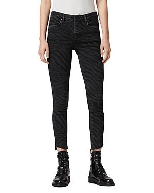 Allsaints Grace Zebra Skinny Jeans in Black