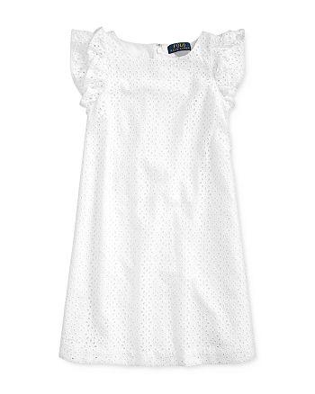 Ralph Lauren - Girls' Cotton Eyelet-Embroidered Dress - Big Kid