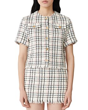 Maje - Short-Sleeve Button-Up Tweed Top