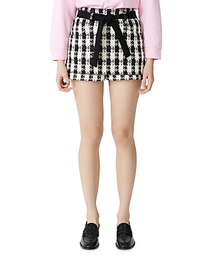 Maje Belted Houndstooth Layered Tweed Shorts