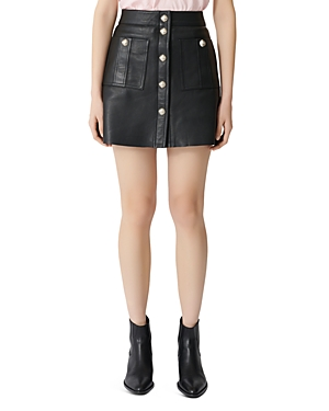 Maje Jeate Leather Mini Skirt-Women