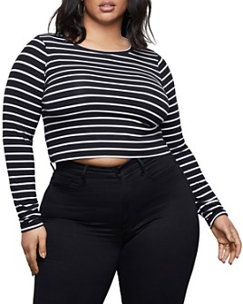 Good American - Cropped Ribbed T-Shirt