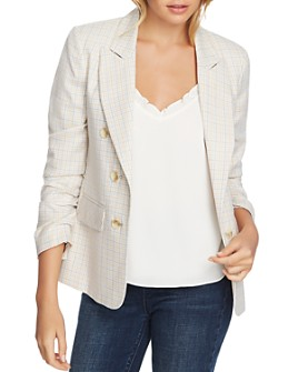 1.STATE - Festival Check Ruched-Sleeve Jacket