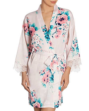 In Bloom by Jonquil Satin Floral Print Wrap Robe