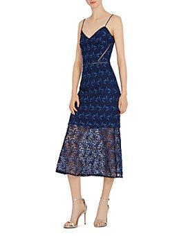 ML Monique Lhuillier - Floral Crochet Midi Dress