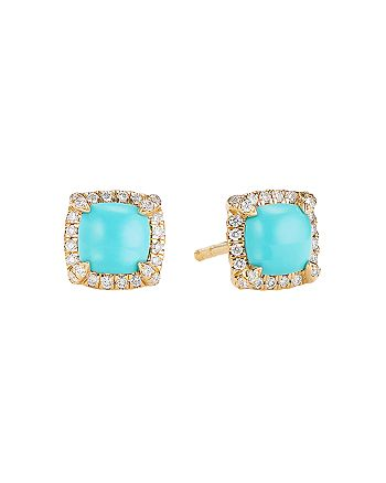 David Yurman - Petite Châtelaine® Pavé Bezel Stud Earrings in 18K Yellow Gold with Turquoise and Diamonds