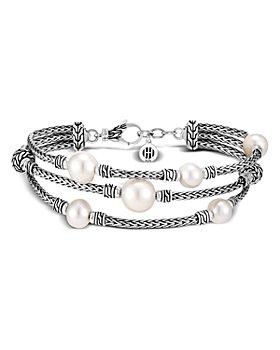 JOHN HARDY - Sterling Silver Classic Chain Cultured Freshwater Pearl Triple-Row Bracelet