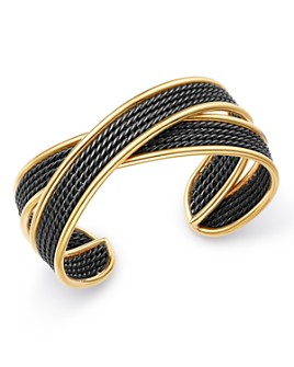 David Yurman - Origami 18K Gold Narrow Crossover Cuff Bracelet with Blackened Sterling Silver