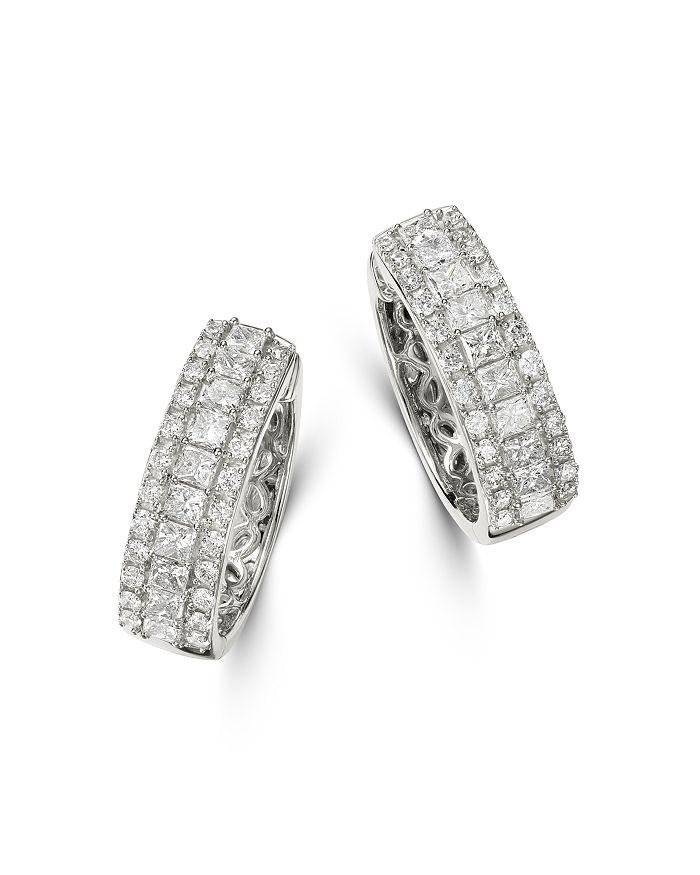 Bloomingdale's - Diamond Round & Princess-Cut Huggie Hoop Earrings in 14K White Gold, 1.0 ct. t.w. - 100% Exclusive