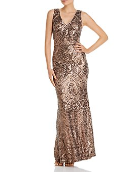 AQUA - V-Neck Sequined Evening Gown - 100% Exclusive