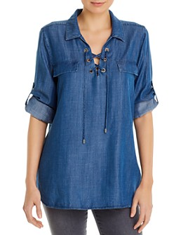 Calvin Klein - Lace-Up Roll-Sleeve Shirt