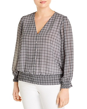 Michael Michael Kors Plus Cheeky Check V-Neck Button Top