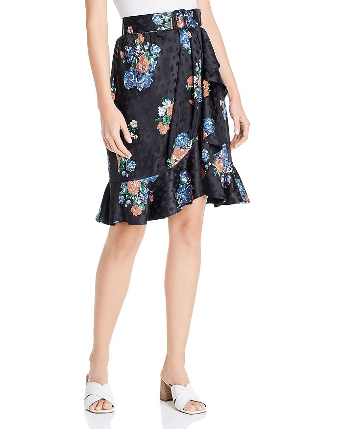 Tory Burch - Ruffled Floral Silk Jacquard Skirt