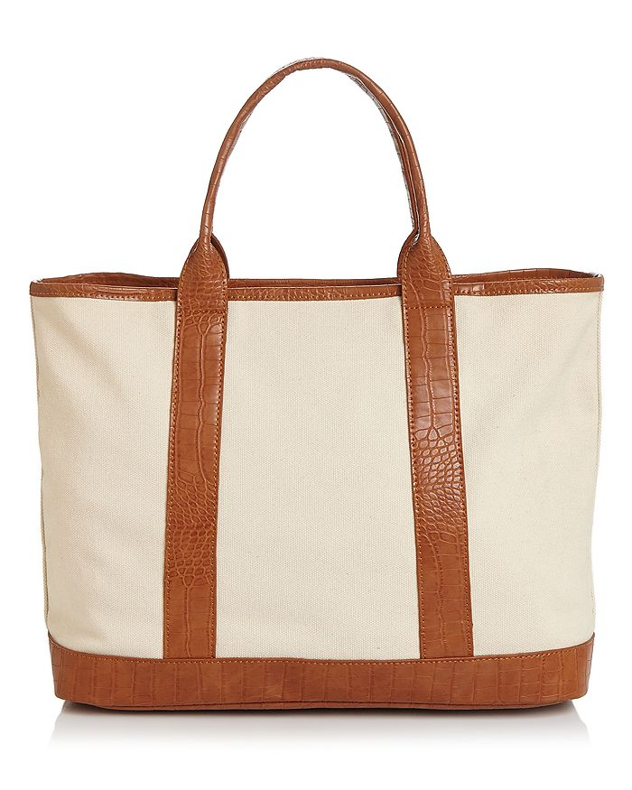 Aqua Extra Large Canvas Tote - 100% Exclusive In Tan/gunmetal