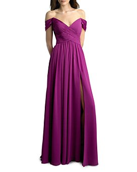Basix - Off-the-Shoulder Pleated Gown  - 100% Exclusive