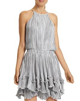 HALSTON - Pleated Metallic Dress