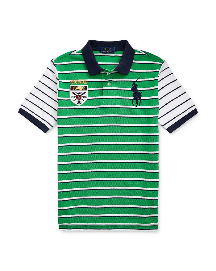 Ralph Lauren - Boys' Cotton Crest & Pony Striped Polo - Big Kid