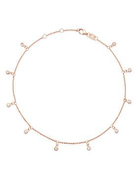 Bloomingdale's - Diamond Bezel Droplet Ankle Bracelet in 14K White Gold or 14k Rose Gold- 100% Exclusive