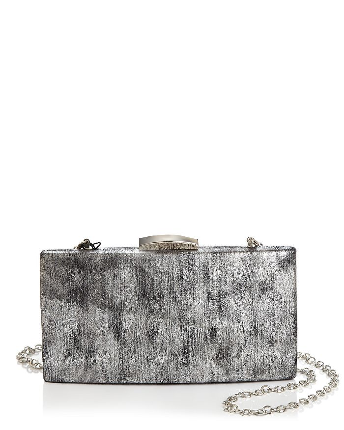 Aqua Mini Metallic Box Clutch - 100% Exclusive In Black Silver/silver