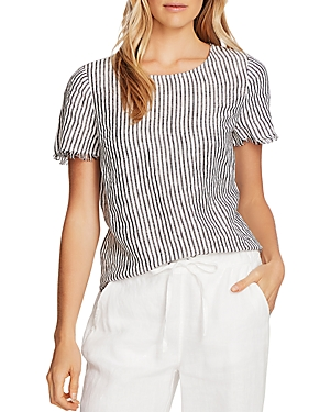 Vince Camuto Frayed-Edge Striped Linen Shirt