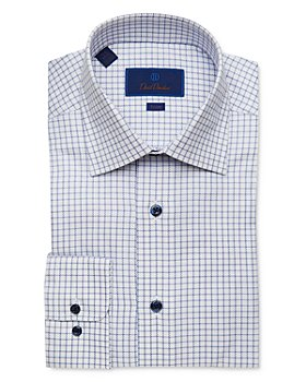 David Donahue - Cotton Textured Windowpane Trim Fit Dress Shirt