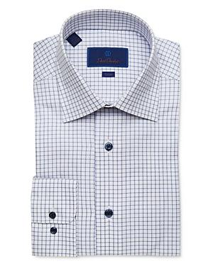 David Donahue Cotton Textured Windowpane Trim Fit Dress Shirt-Men