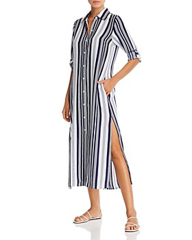 Tommy Bahama - Tan Lines Striped Midi Dress Swim Cover-Up