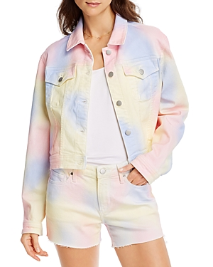 Aqua Tie-Dyed Denim Trucker Jacket in Pastel Multi - 100% Exclusive-Women