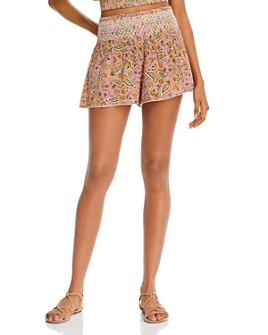 AQUA - Paisley-Printed Smocked Shorts - 100% Exclusive