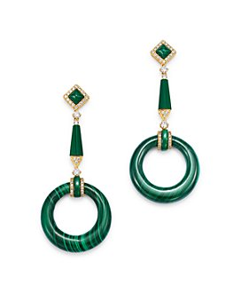 Bloomingdale's - Malachite & Diamond Circle Drop Earrings in 14K Gold - 100% Exclusive