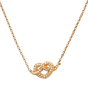 kate spade new york Loves Me Not Gold-Tone Pave Knot Mini Pendant Necklace, 17-19.5-Jewelry & Accessories
